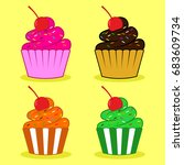 Cupcake With Cherry Vector...
