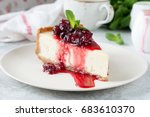 slice of new york cheesecake... | Shutterstock . vector #683610370