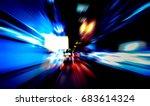 moving traffic light trails at... | Shutterstock . vector #683614324