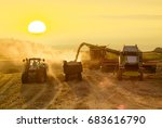 harvesting combine harvesting...   Shutterstock . vector #683616790