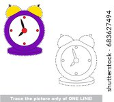 violet clock to be traced only... | Shutterstock .eps vector #683627494