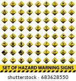 set of hazard warning signs.... | Shutterstock .eps vector #683628550