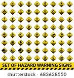 set of hazard warning signs.... | Shutterstock .eps vector #683628550