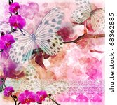 Stock photo butterflies and orchids flowers pink background with lace of set 68362885