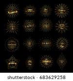 gold sunburst  logo and emblems ...   Shutterstock .eps vector #683629258