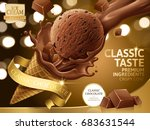 chocolate ice cream cone ads ... | Shutterstock . vector #683631544