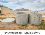 two concrete soakwells with... | Shutterstock . vector #683631943