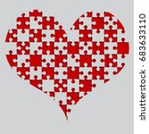 red puzzle heart pieces  ...   Shutterstock .eps vector #683633110