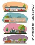 vector set of mid century houses | Shutterstock .eps vector #683635420