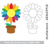 rainbow pot flower to be traced ... | Shutterstock .eps vector #683635918