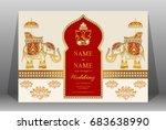 wedding invitation card... | Shutterstock .eps vector #683638990
