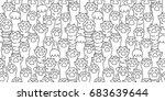 cat breed kitten paw doodle... | Shutterstock .eps vector #683639644