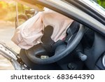 airbag exploded at a car... | Shutterstock . vector #683644390