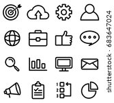 seo icons with outline style | Shutterstock .eps vector #683647024