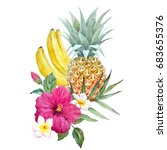 watercolor print of pineapple ... | Shutterstock . vector #683655376
