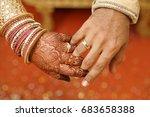 indian wedding couple hand in...   Shutterstock . vector #683658388
