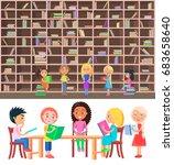 five children sitting at wood... | Shutterstock .eps vector #683658640