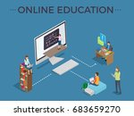 online education process... | Shutterstock .eps vector #683659270