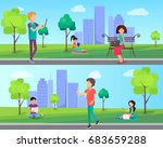 people spend time in city park... | Shutterstock .eps vector #683659288
