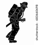silhouette of a fireman with a... | Shutterstock .eps vector #683660698