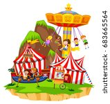 children playing on rides in... | Shutterstock .eps vector #683665564