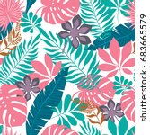 vector seamless with tropical... | Shutterstock .eps vector #683665579