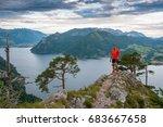 sportive man on rocks lake in... | Shutterstock . vector #683667658