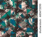 seamless exotic pattern with... | Shutterstock .eps vector #683672050