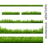 big set green grass borders  | Shutterstock . vector #683672494