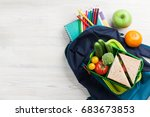 lunch box with vegetables and... | Shutterstock . vector #683673853