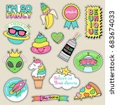 set of fashion patches  pastel... | Shutterstock .eps vector #683674033