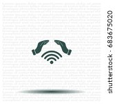 hand with wi fi icon. | Shutterstock .eps vector #683675020