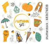 autumn objects set.... | Shutterstock . vector #683676838