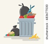 garbage can with waste  plastic ... | Shutterstock .eps vector #683677030