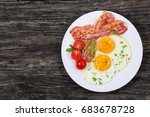 sunny side up eggs with crispy... | Shutterstock . vector #683678728