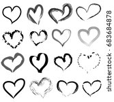 hand drawn hearts set | Shutterstock . vector #683684878