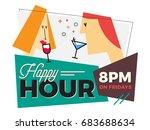 happy hour. man drinking... | Shutterstock .eps vector #683688634