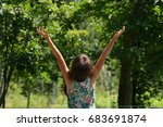 little girl with her hands up   ... | Shutterstock . vector #683691874