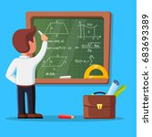 young male teacher on lesson at ... | Shutterstock .eps vector #683693389