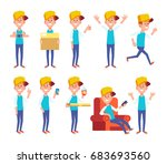 set of young man in casual... | Shutterstock .eps vector #683693560