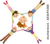 three generations family... | Shutterstock .eps vector #683694388