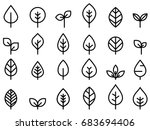 Stock vector set of leaf line minimal icon 683694406