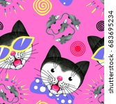 seamless pattern with funny... | Shutterstock . vector #683695234