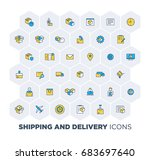 simple set of shipping and... | Shutterstock .eps vector #683697640