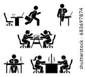 figure office poses set.... | Shutterstock .eps vector #683697874