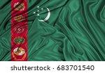 3d flag of turkmenistan silk... | Shutterstock . vector #683701540