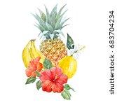watercolor print of pineapple   ... | Shutterstock . vector #683704234