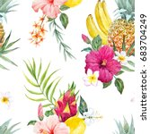 watercolor print of pineapple   ... | Shutterstock . vector #683704249