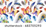 watercolor bird feather pattern ... | Shutterstock . vector #683705293