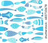 seamless pattern with fishes.... | Shutterstock .eps vector #683710678